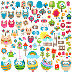 Fotorolgordijn Vlinders owls and garden themed elements