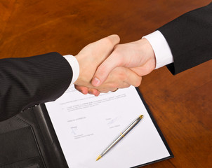 Businessmen shaking hands after signing the contract