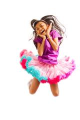 cute asian little girl jumping