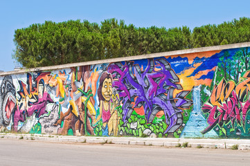 Wall with graffiti.