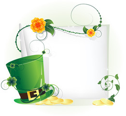 Green leprechaun hat and sheet of white paper