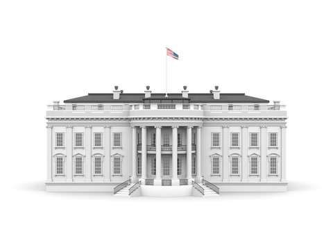 White house rendered illustration isolated on a white background