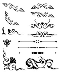set: calligraphic design elements and page decoration