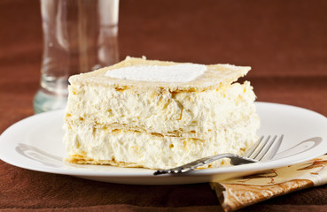 Photo: cream pie and a glass of water