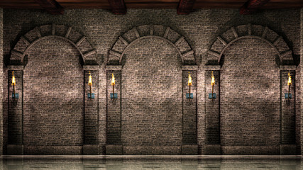 Stone wall with arches