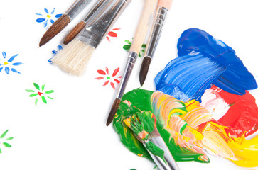 Set of brushes with colorful paint