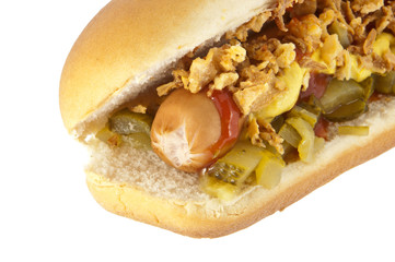 Hot Dog with onions and cucumber