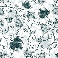 Seamless white-dark-green floral pattern