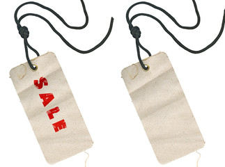fabric tags, empty and with Sale inscription