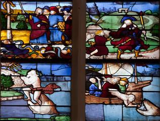 Foto op Plexiglas Stained detail d'un vitrail de la sainte chapelle à Vic le Comte (63)