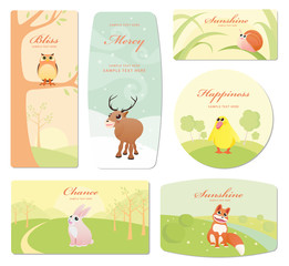 Baby labels with cartoon animals