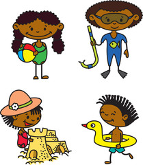 Set of cute summer afroamerican children (color version)