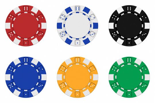 Sets of 3d rendered colored casino chips - 3D rendering