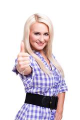 blonde Frau zeigt Top-Daumen