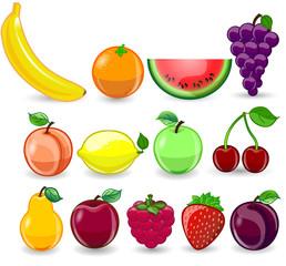 Мультфильм апельсин, банан, лимон, виноград, арбуз, малина