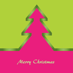 christmas card with green and pink background, christmas tree.