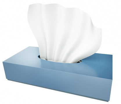 Blue tissue box isolated on white background. 3D render