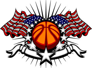 Basketball Vector Template with Flags and Stars...