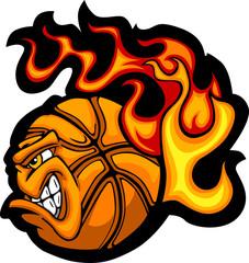 Basketball Flaming  Ball Face Vector Image