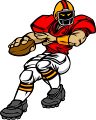 Football Player Quarterback Vector Cartoon