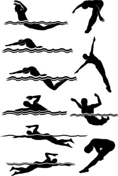 Swimming & Diving Male Silhouettes