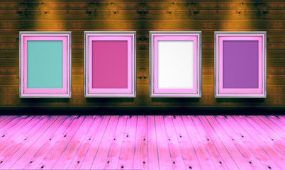 Empty picture frames in  art gallery   pink shade color room