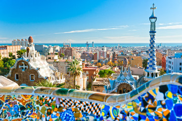 Photo sur Aluminium Barcelone Park Guell in Barcelona, Spain.