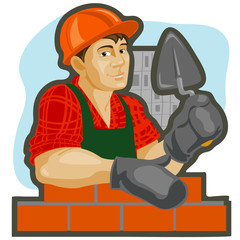 Builder with a trowel in his hand against houses