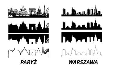 Fototapeta Vector of European cities Warsaw Paris obraz