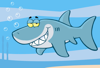 Happy Shark Cartoon Character Under The Sea