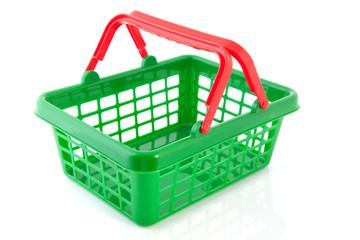 Green plastic shopping basket