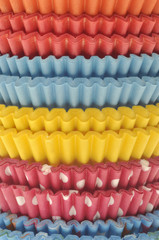Stack of Vibrant Cupcake Wrappers