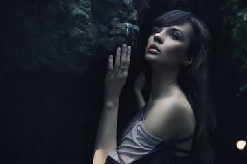 Nature portrait of a beauty brunette