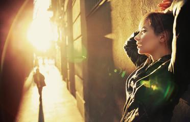Foto auf AluDibond Buddha Profile portrait of a young woman