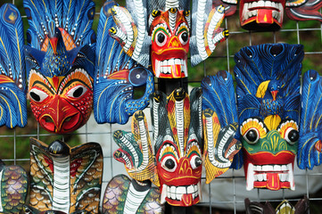 Colored wooden masks