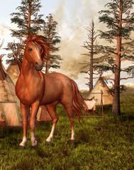 Printed kitchen splashbacks Indians Brązowy koń w starym lesie