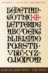 vector set: gothic letters - 15th century