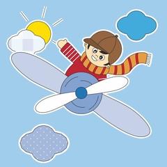 Photo sur Aluminium Ciel Pegatina, niño volando en avión