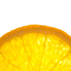Zelfklevend Fotobehang Plakjes fruit Slice of fresh Orange / Super Macro / Back lit