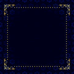vector dark blue card with gold frame