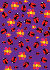 Poster de jardin Coccinelles Ladybugs and flowers