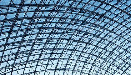 Metal and glass ceiling