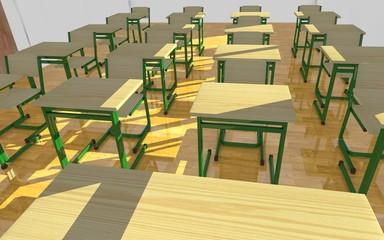 3d render of classroom interior