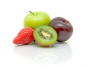 fresh fruits on white background close-up
