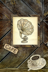 Old cafe illustration
