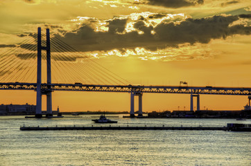 bright and early morning at Bay Bridge in Yokohama, Japan