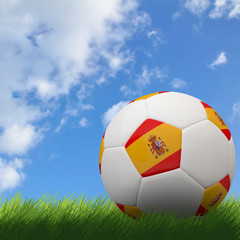 Spain flag on 3d football