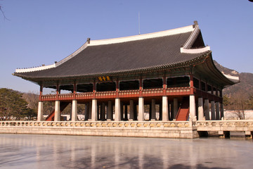 freezed pond and Gyeonghoeru Pavilion