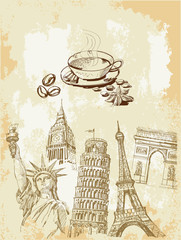 Wall Murals Doodle set of travel