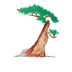 An illustration of half-dead tree
